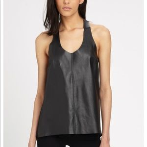 PATTERSON J. KINCAID Black Leather and Silk Tank